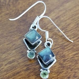 Labradorite peridot sterling silver earrings